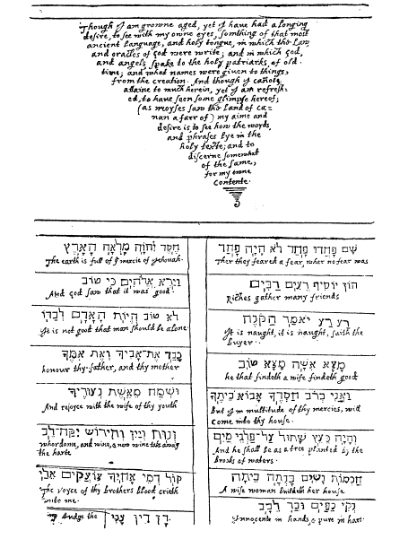 William Bradford on Hebrew